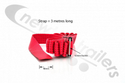 RED-3.0 Dawbarn Cover Sheet Side Strap Without D Eyelet Red LG:3Mts