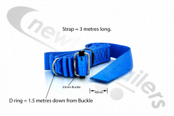 BLUE-3.0-D1.5 Dawbarn Cover Sheet Side Strap With D Eyelet 1.5m Down Blue 3m