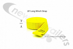 20' Long winch strap Dawbarn Ratchet Drive Front Strap For Clearspan Winch System - Yellow Strap Only