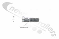 ORDER WITH NUT SAF Wheel Stud 76mm For Intradisc, Intradisc Plus & Integral Axles