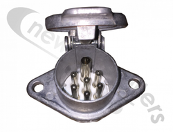 1705 24S Alloy Male Front Socket With 7 Spade Terminals